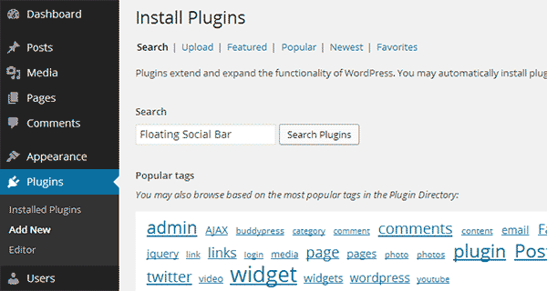Installing a new plugin in WordPress