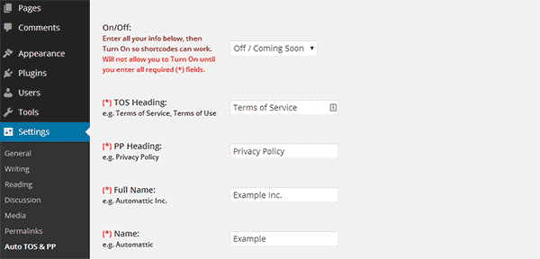 Configure Auto Terms and Privacy Policy plugin settings