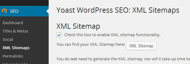 Enabling XML sitemaps feature in WordPress SEO plugin