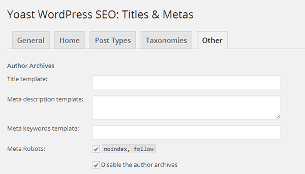 Make author archive noindex and nofollow using WordPress SEO