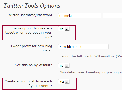 Twitter Tools Options